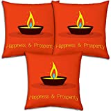 Best Festival Gifts Diwali Christmas New Year Set Of 3 Orange Row Of Light Happiness Prosperity Printed Polyester...