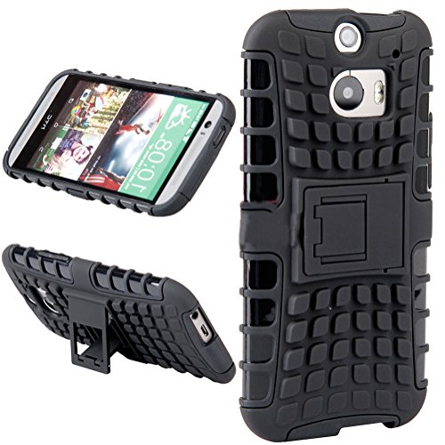 Mylife Grenade Black {Rugged Design} Two Piece Neo Hybrid (Shockproof Kickstand) Case For The All-New Htc One M8 Android Smartphone - Aka, 2Nd Gen Htc One (External Hard Fit Armor With Built In Kick Stand + Internal Soft Silicone Rubberized Flex Gel Full