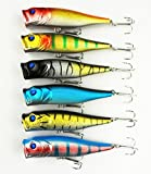 Hengjia Pack of 6 Surface Topwater Popper Floatin Lures Hard Trolling Baits Hook Tackle for Freshwater & Saltwater 9cm /3.54