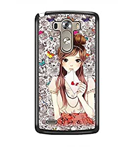 PrintDhaba Cute Girl D-1098 Back Case Cover for LG G3 (Multi-Coloured)