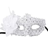 Coxeer Fancy Lace with Rhinestone Liles Venetian Masquerade Mask