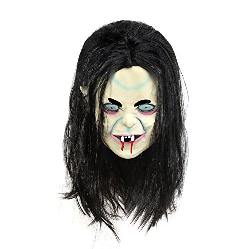 [PLAY X STORE Halloween Ghost Mask Latex Creepy Scary Toothy Zombie with Hair] (Zombie Bunny Halloween Costume)