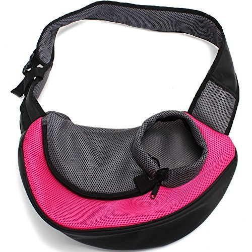 Petown Portable Soft Pet Carrier Shoulder Bag for Dogs and Cats (Rose Red Small Size)