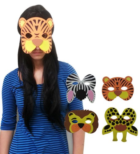Foam Wild Zoo Animal Face Maks - Adorable Foam Face Masks Featuring Wild Zoo Animals
