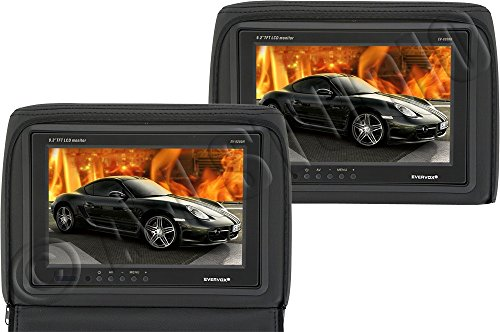 "Evervox Ev-9200H Black 9.2"" Dual Headrest Monitors With Zippered Pillow"