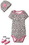 Lovespun Baby-Girls Newborn Mini Leopard Print 3 Piece Creeper Hat and Sock Gift Box Set, Pink, 0-6 Months/Petite