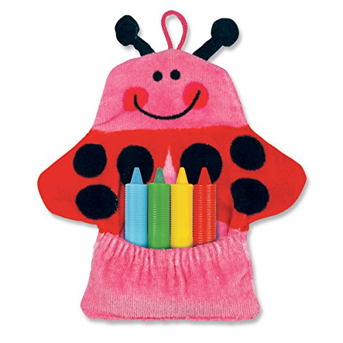 Stephen Joseph Bath Mitt and Crayons Ladybug, Pink