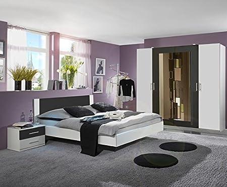 Schlafzimmer 4tlg Set weiß - anthrazit 225cm Kleiderschrank 160cm Futonbett