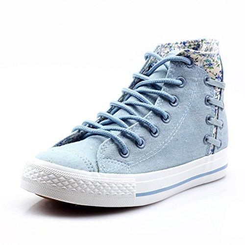 Chaussures fille coréenne version de marée fond plat étudiant chaussures en toile/Petits frais floral imprimer haut aide chaussures/Chaussures tissu respirant