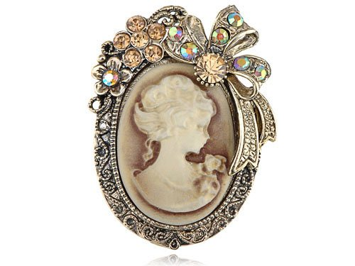 Old Gold Tone Topaz Crystal Rhinestone Cameo