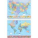 U.S./World 2 for 1 Map (Economy Line Wall Maps United States and World 2 for 1) book cover