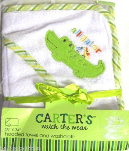 Carter's Watch the Wear Hooded Towel and Washcloth Set (Alligator - Green)