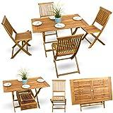 5-tlg-Balkonset-Terrassen-Set-Bistroset-Balkonmbel-Gartenstuhl-Holz-Gartenmbel-Akazie-gelt-4x-Klappstuhl-1xKlapptisch