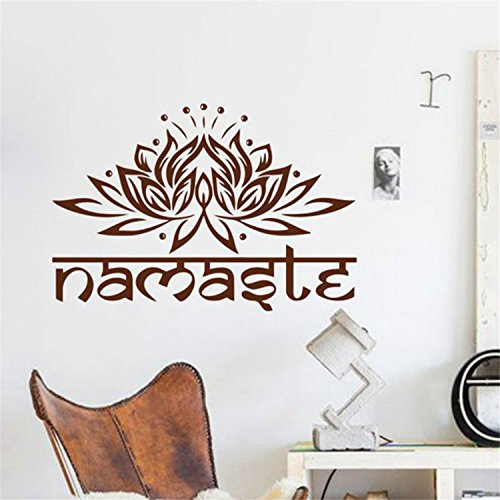 Yanqiao Wall Decals Yoga Namaste Words Lotus Flower Buddha Ganesha Mandala Yoga Studio Wall Removable Vinyl Decal Stickers Bedroom Murals (Yoga Pictures compare prices)