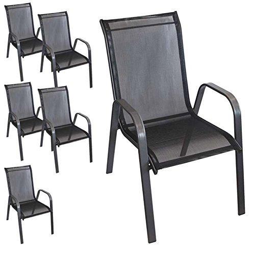 6 Stück stapelbarer Gartenstuhl Gartensessel Stapelstuhl Stapelsessel Stahlgestell pulverbeschichtet mit Textilenbespannung Gartenmöbel Terrassenmöbel Balkonmöbel Anthrazit / Schwarz online kaufen