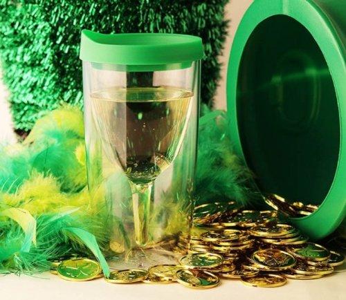 Shamrock Green Slide Top Lid Vino2Go Plastic Tumbler (10-oz Capacity)