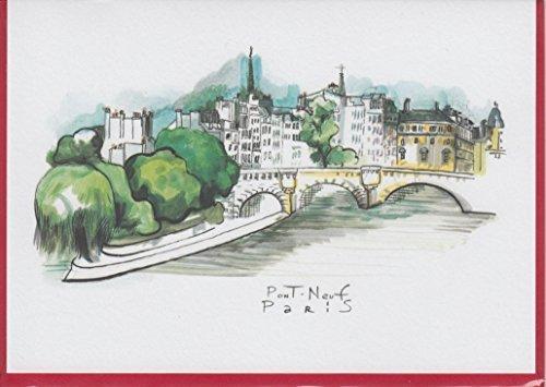 lot-de-8-cartes-postales-style-aquarelle-pont-neuf-paris