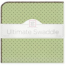 SwaddleDesigns Ultimate Receiving Blanket, Brown Polka Dots, Lime