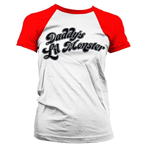 Officially Licensed Merchandise Suicide Squad DaddyŽs Lil Monster Baseball Girly Tee (White/Red), X-Large