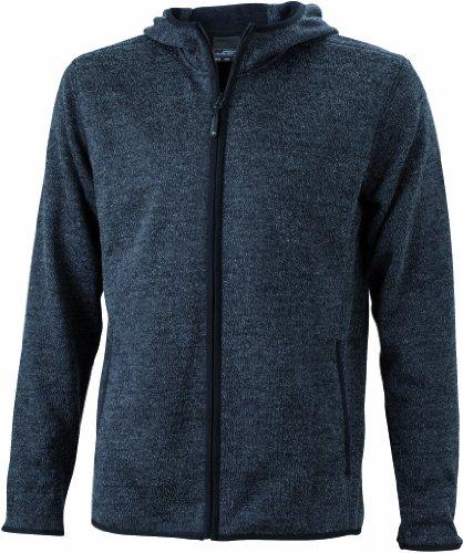 James & Nicholson - Kapuzenjacke Men's Knitted Fleece Hooded Sweatshirt, Giacca Uomo, Grigio (dark-melange/black), Large (Taglia Produttore: Large)