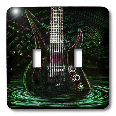 Lsp_109245_2 Florene Music - Fun Electric Neon Rock Guitar - Light Switch Covers - Double Toggle Switch