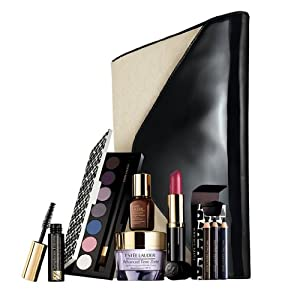 Estee Lauder 2013 Nordstrom 7 Pieces Gift Set Advanced Night Repair Cream 7-shade Eyeshadow and More Plus Chic Clutch Cosmetic Bag