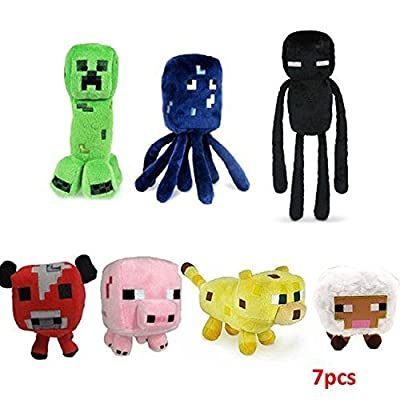 Toys+ Minecraft Enderman Creeper Pig Mojang Plush Soft Toy Set of 7 multi-colored, 7/PCS by CosyDeal