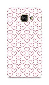 Amez designer printed 3d premium high quality back case cover for Samsung Galaxy A3 (2016 EDITION) (white red hearts )
