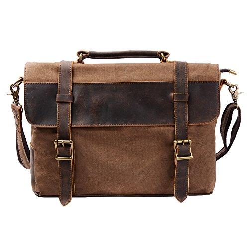 S ZONE Vintage Canvas Leather Messenger traveling Briefcase shoulder laptop Bag image