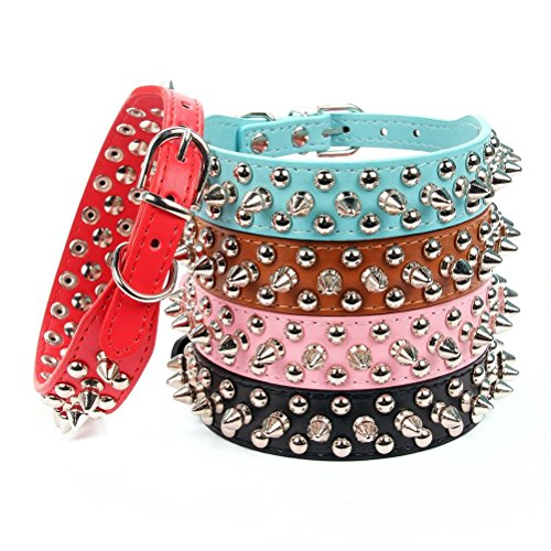 Aolove-Mushrooms-Spiked-Rivet-Studded-Adjustable-Pu-Leather-Pet-Collars-for-Cats-Puppy-Dogs