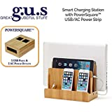 Great Useful Stuff 100% Natural Bamboo SMART Multi-Device Charging Station with PowerSquareTM