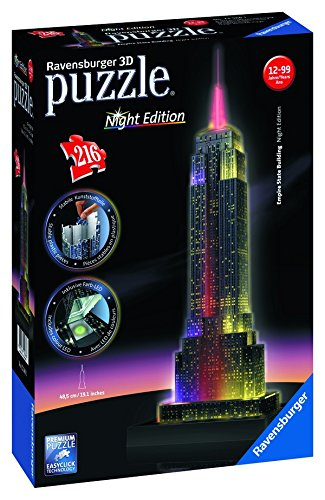 Ravensburger-12566-Empire-State-Building-bei-Nacht-Night-Edition-3D-Puzzle-Bauwerke-216-Teile