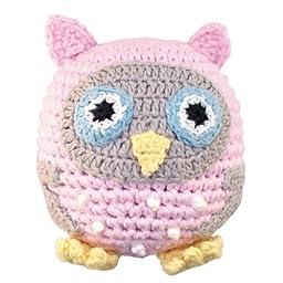 Sindibaba Hand-Crocheted Owl Rattle Ball (Rose)