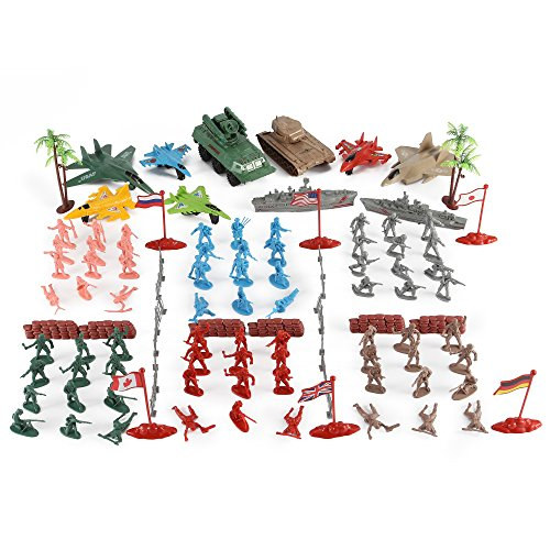 Army Men Action Figures Soldier Bucket Playset with Scaled Tanks, Planes, Submarines, Flags & More!