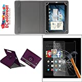 ECellStreet PU LEATHER 360° Rotating Flip Case Cover With Stand For Samsung Galaxy Tab 3 Neo SM-T111 + Free Tempered Glass Toughened Glass Screen Protector - Purple