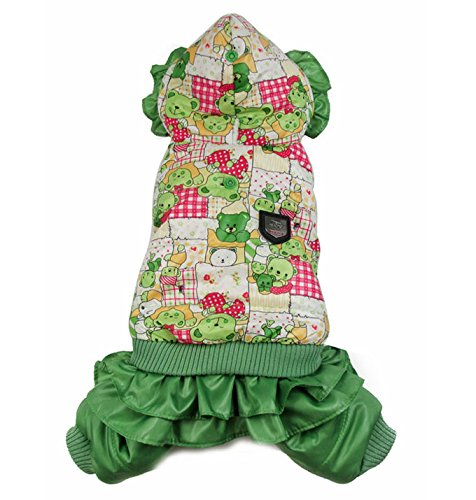 Esingyo Pet Cat Dog Clothes Lillte Bear Hooded Jumpsuit Trench Coat Fleece Lining Small Dog Coat Green Xs