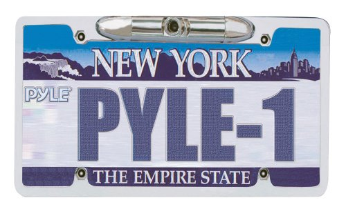 Pyle Plcm21 License Plate Camera Zinc Metal Chrome With 0.3 Lux At F2-Inch front-1045806