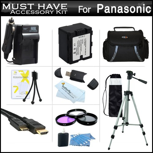 Must Have Accessory Kit For Panasonic HC-X920, HC-X920M, HC-X900M, HC-X900,HC-X800 Camcorder Includes Replacement (1500Mah) VW-VBN130 Battery + Ac/DC Charger + Deluxe Case + Tripod + 3PC Filter Kit (UV-CPL-FLD) + Mini HDMI Cable + USB 2.0 SD Reader + More