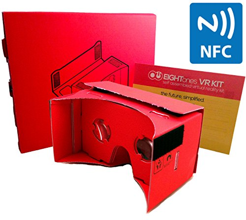 EightOnes VR Kit – The Complete Google Cardboard Kit with 1-Year Guarantee, NFC, Exclusive Content and Head-strap – Inspired by Google Cardboard and Oculus Rift to Turn Smartphones into 3D Virtual Reality Headsets (Crimson Red)