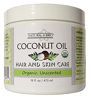 Natural Brio Organic Unscented Coconut Oil for Skin and Hair Care, 16 fl. oz