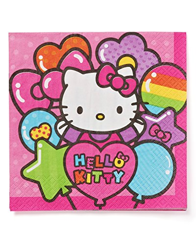 Adorable-Hello-Kitty-Rainbow-Luncheon-Napkins-Birthday-Party-Tableware-16-Pack-Pink-65-x-65