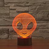 3D Lamp Optical Illusion Visual Lamp Led Night Light By Elstey Amazing 7 Colors Changing Acrylic Light Guide Plate + ABS Plastic Base + USB Charge Touch Sensitive Switch Lights ( Alien )
