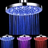 Ouku® 8 Inch Rainfall Battery Free Led 7 Color Changing Round Bathroom Shower Head Lavatory Bath Shower Faucet Ceramic Valve Plumbing Fixtures Water Flow Powered No Battery Needed Fixed Shower Head Without Shower Arm