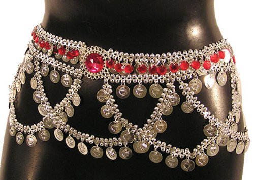 Belly Dancer Belt with Coins and Jewels - Adult Std.