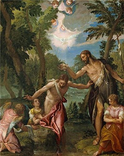 'The Baptism Of Christ, 1580 - 1588 By Paolo Veronese' Oil Painting, 20x25 Inch / 51x64 Cm ,printed On High Quality Polyster Canvas ,this Imitations Art DecorativePrints On Canvas Is Perfectly Suitalbe For Kids Room Artwork And Home Gallery Art And Gifts