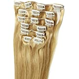 20inch Long Straight #18/22 Mix Blonde 100% Human Hair Clip in Extension 7pcs He07