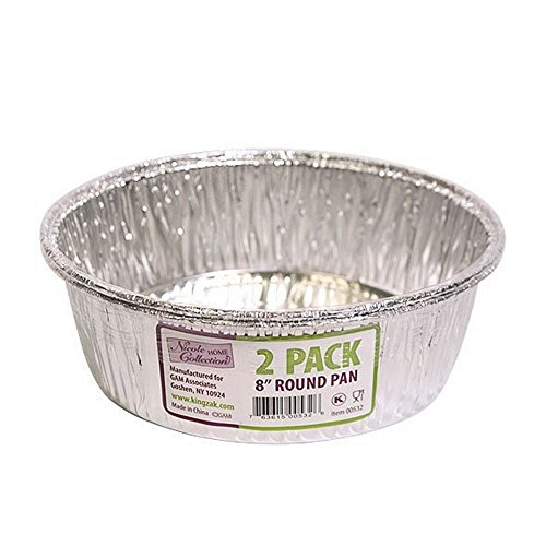 8 Inch Round Disposable Aluminum Foil Pan - 2 Pack