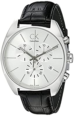 Calvin Klein Men's K2F27120 Exchange Stainless Steel Watch with Black Leather Band