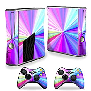 Protective Vinyl Skin Decal Cover for Microsoft Xbox 360 S Slim + 2 Controller Skins Sticker Skins Rainbow Zoom