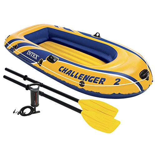 Intex Challenger 2, 2-Person Inflatable Boat Set with French Oars and High Output Air Pump (Latest Model) (Motor Inflatable Boat compare prices)